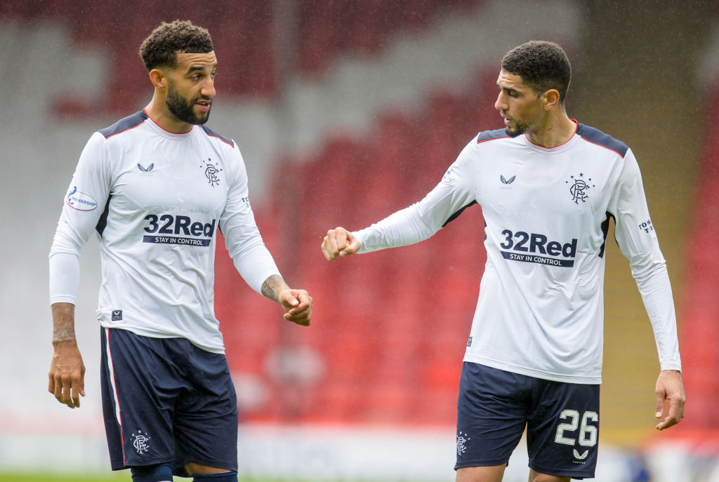 Aberdeen v Rangers - Ladbrokes Scottish Premiership ABERDEEN, SCOTLAND - AUGUST 01: Connor Goldson and Leon Balogun of Rangers in discussion during the Ladbrokes Premiership match between Aberdeen and Rangers at Pittodrie Stadium on August 01, 2020 in Aberdeen, Scotland. Football Stadiums around Europe remain empty due to the Coronavirus Pandemic as Government social distancing laws prohibit fans inside venues resulting in all fixtures being played behind closed doors.