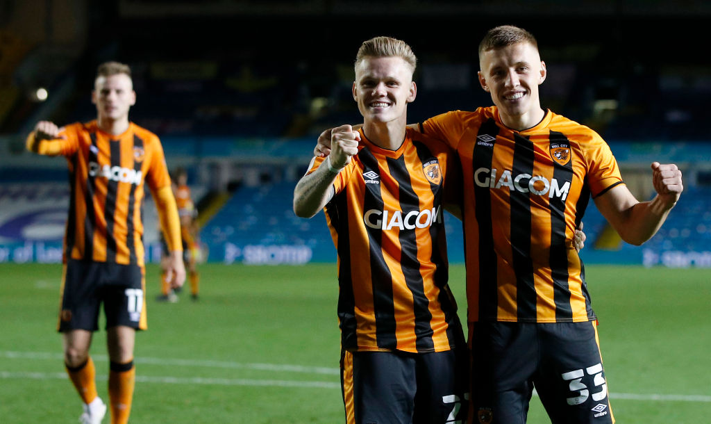 Rangers Leeds United v Hull City - Carabao Cup Second Round LEEDS, ENGLAND - SEPTEMBER 16: Thomas Mayer of Hull City and Greg Docherty of Hull City celebrate following their team's victory in the Carabao Cup Second Round match between Leeds United and Hull City at Elland Road on September 16, 2020 in Leeds, England.