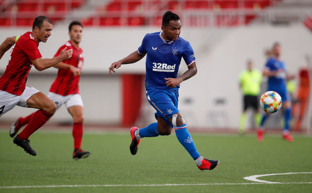Lincoln Red Imps v Rangers: UEFA Europa League Second Qualifying Round GIBRALTAR, GIBRALTAR - SEPTEMBER 17: Alfredo Morelos of Rangers scores his team's fifth goal during the UEFA Europa League second qualifying round match between Lincoln Red Imps and Rangers at Victoria Stadium on September 17, 2020 in Gibraltar, Gibraltar.