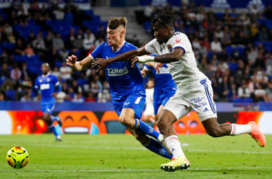 Nathan PATTERSON of Rangers and Youssouf KONE of Lyon during the Veolia Trophy match between Lyon and Glasgow Rangers at Groupama Stadium on July 16, 2020 in Lyon, France.
