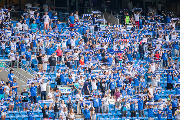 Rangers Supporters of Lech Poznan in the stands during the Polish