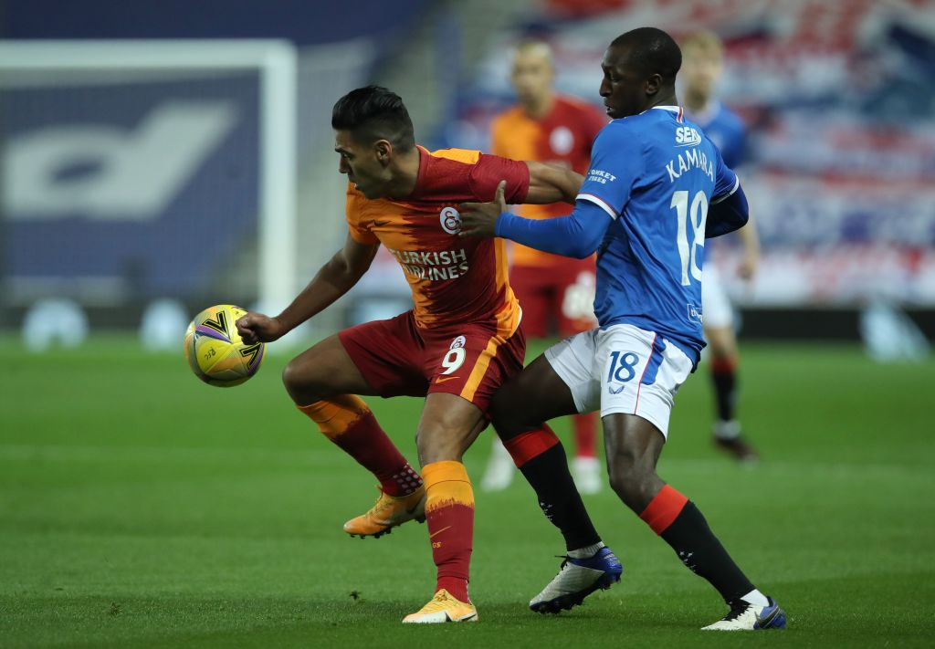 FBL-EUR-C3-QUALIFIER-RANGERS-GALATASARAY Rangers' Finnish midfielder Glen Kamara (R) vies with Galatasaray's Colombian striker Radamel Falcao during the UEFA Europa League qualifying round football match between Rangers FC and Galatasaray at the Ibrox Stadium in Glasgow on October 1, 2020.