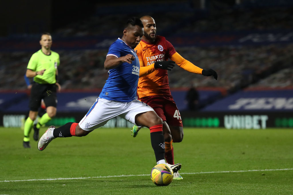 Rangers v Galatasaray: UEFA Europa League Play-Off GLASGOW, SCOTLAND - OCTOBER 01: Alfredo Morelos of Rangers is challenged by Marcao of Galatasaray during the UEFA Europa League play-off match between Rangers and Galatasaray at Ibrox Stadium on October 01, 2020 in Glasgow, Scotland. Football Stadiums around Europe remain empty due to the Coronavirus Pandemic as Government social distancing laws prohibit fans inside venues resulting in fixtures being played behind closed doors.