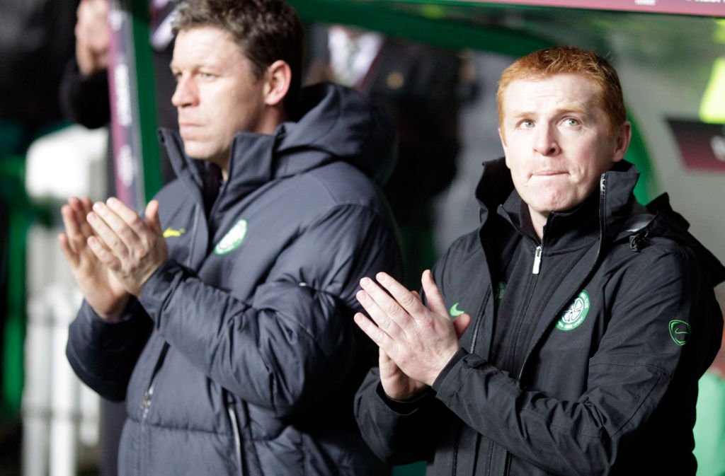 Celtic's manager, Neil Lennon (R) with h