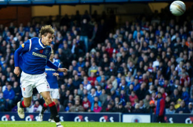 05/11/11 CLYDESDALE BANK PREMIER LEAGUE.RANGERS v DUNDEE UTD.IBROX - GLASGOW.Rangers' Nikica Jelavic scores his opening goal of the game