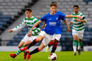 25/04/19 SCOTTISH YOUTH CUP FINAL .CELTIC v RANGERS .HAMPDEN PARK - GLASGOW .Rangers' Ben Williamson (right) holds off Celtic's Barry Coffey