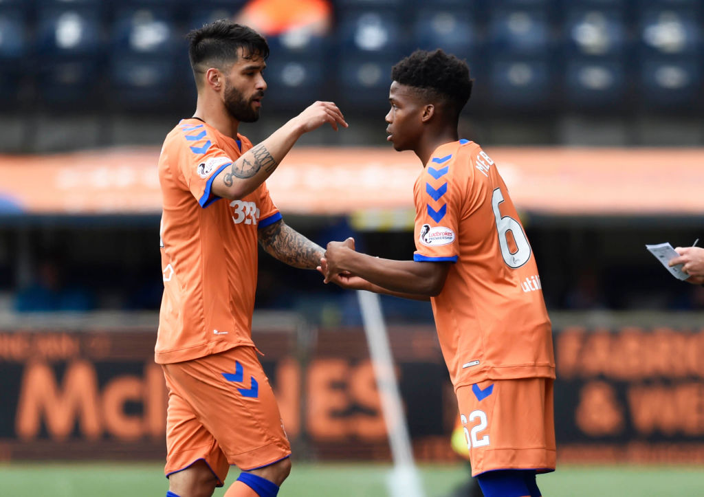 19/05/19 LADBROKES PREMIERSHIP.KILMARNOCK v RANGERS.RUGBY PARK - KILMARNOCK .Rangers' Daniel Candeias (L) comes off for Dapo Mebude to make it first team debut.