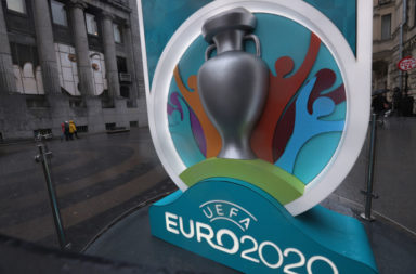 A Logo of the UEFA Euro 2020 is seen at a countdown clock