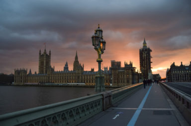 A dramatic sunset over the Houses of Parliament in London
