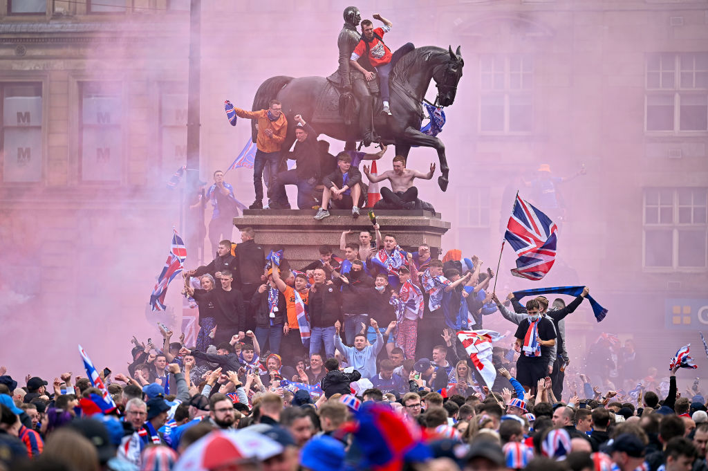 Fans celebrate Rangers crowned champions