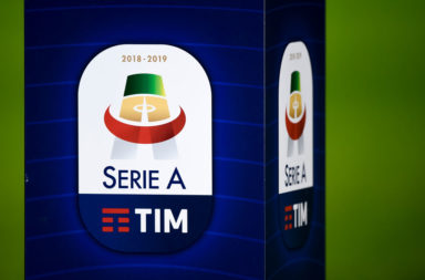 The Serie A TIM logo is pictured prior to the Serie A