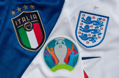 The Italy and England Badges with the Euro 2022 Logo
