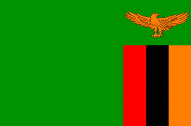 National flag of the Republic of Zambia.